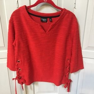 Onque Casual Red Textured Top